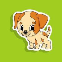 cachorro bege. personagem fofinho. ilustração vetorial colorida. estilo de desenho animado. isolado no fundo branco. elemento de design. modelo para seu projeto, livros, adesivos, cartões, cartazes, roupas. vetor