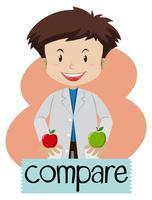Wordcard para comparar com o menino segurando maçãs vetor
