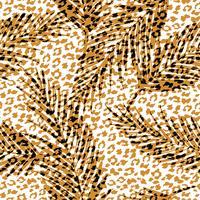 Sem costura padrão exótico com folhas de palmeira e teste padrão animal. vetor