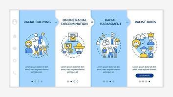 racismo no modelo de vetor integração de sociedade. site móvel responsivo com ícones. passo a passo da página da web telas de 4 etapas. conceito de cores de discriminação racial online com ilustrações lineares