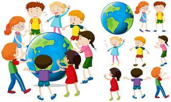 Crianças ao redor da terra vetor