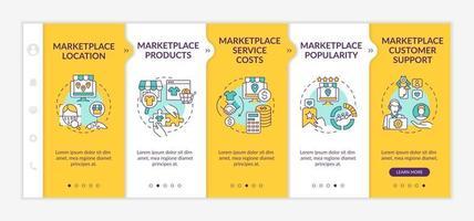 modelo de vetor de integração de parâmetros de escolha do mercado. site móvel responsivo com ícones. passo a passo da página da web telas de 5 etapas. custos de serviço, conceito de cor de produtos com ilustrações lineares