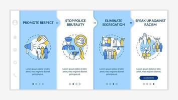 modelo de vetor de integração de compromisso anti-racismo. site móvel responsivo com ícones. passo a passo da página da web telas de 4 etapas. pare o conceito de brutalidade policial com ilustrações lineares