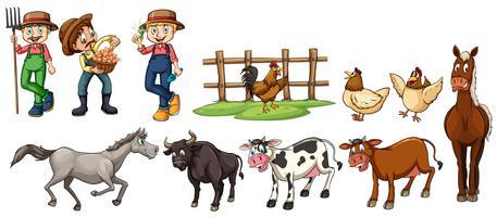 Agricultores e conjunto de animais de fazenda vetor