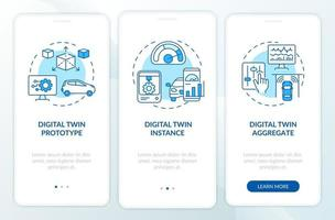 tela da página do aplicativo móvel de integração de tipos de gêmeos digitais. sistemas de automação passo a passo instruções gráficas de 3 etapas com conceitos. modelo de vetor ui, ux, gui com ilustrações coloridas lineares