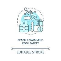 ícone do conceito de segurança de praia e piscina. ilustração de linha fina de ideia abstrata de férias de verão. prevenção de doenças recreativas na água. desenho de cor de contorno isolado vetor. curso editável vetor