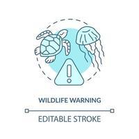 ícone do conceito de aviso de vida selvagem. ilustração de linha fina de ideia abstrata de segurança de praia de verão. medusas, sinais de alerta de tartarugas marinhas. desenho de cor de contorno isolado vetor. curso editável vetor