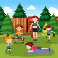 Pessoas, exercitar, parque vetor