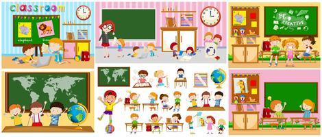 Cenas diferentes de salas de aula com crianças vetor