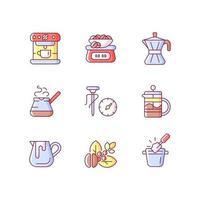 conjunto de ícones de cores de rgb de café. moka pot. cezve turco para preparar uma bebida. jarra de leite para baristas. ilustrações isoladas do vetor. espresso fazendo coleção simples de desenhos de linhas preenchidos vetor