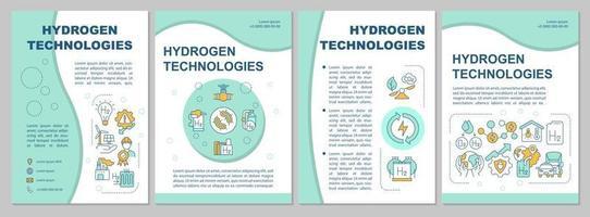 modelo de folheto de tecnologias de hidrogênio. uso de energia. folheto, livreto, impressão de folheto, design da capa com ícones lineares. layouts de vetor para apresentação, relatórios anuais, páginas de anúncios