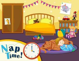 Tempo da soneca da criança vetor