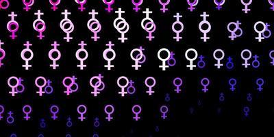 de fundo vector roxo, rosa claro com símbolos de mulher.