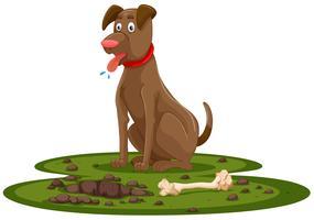 Um osso de escavação do cão vetor