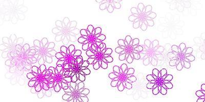luz roxa, rosa vector doodle textura com flores.
