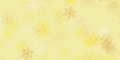 padrão de doodle de vetor amarelo claro com flores.