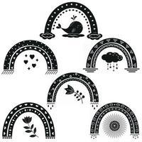 conjunto de padrão de arco-íris, estêncil preto, ilustração vetorial vetor