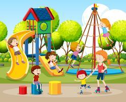 Crianças, tocando, ao ar livre, cena vetor