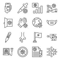 pacote de ícones lineares farmacêuticos vetor