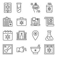 pacote de ícones médicos lineares vetor