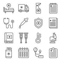 pacote de ícones médicos e corona linear vetor