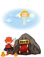 Anjo no céu e diabo no inferno vetor