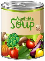 Sopa de legumes em lata de alumínio vetor