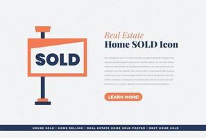 imobiliária casa vendida ícone design vetor