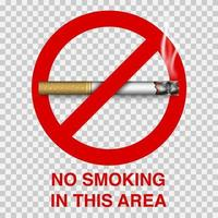 nenhum sinal de fumar com cigarro, ilustração vetorial vetor