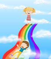 Crianças descendo um arco-íris vetor