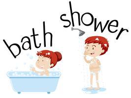 Crianças, tomando banho, e, chuveiro vetor