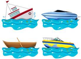 Quatro tipos diferentes de barcos vetor