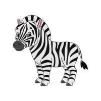 zebra listrada. personagem fofinho. ilustração vetorial colorida. estilo de desenho animado. isolado no fundo branco. elemento de design. modelo para seu projeto, livros, adesivos, cartões, cartazes, roupas. vetor