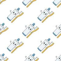 pasta de dente feliz. padrão colorido sem costura com personagem de desenho animado bonito. ilustração em vetor plana simples isolada no fundo branco. criar papel de parede, tecido, papel de embrulho, capas, sites.