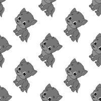 lobo feliz. padrão colorido sem costura com personagem de desenho animado bonito. ilustração em vetor plana simples isolada no fundo branco. criar papel de parede, tecido, papel de embrulho, capas, sites.