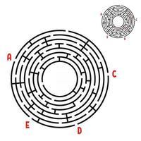 labirinto redondo abstrato. jogo para crianças. quebra-cabeça para crianças. encontre o caminho certo. enigma do labirinto. ilustração em vetor plana isolada no fundo branco. com resposta. com lugar para sua imagem.