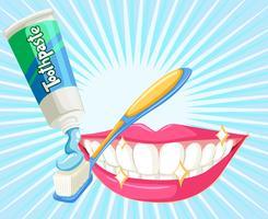 Tema dental com escova de dentes e pasta vetor