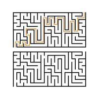labirinto retangular preto com uma entrada e uma saída. um jogo interessante e útil para crianças. ilustração em vetor plana simples isolada no fundo branco. com a resposta.