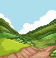 Cena de paisagem natureza colina vetor