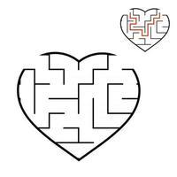 coração de labirinto negro. jogo para crianças. quebra-cabeça para crianças. enigma do labirinto. Dia dos Namorados. ilustração em vetor plana isolada no fundo branco. com resposta.