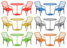 Cadeiras e mesa de café em seis cores vetor