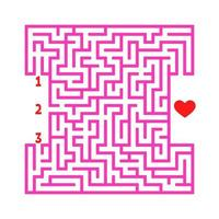 labirinto quadrado colorido. jogo para crianças. quebra-cabeça para crianças. encontre o caminho certo para o coração. enigma do labirinto. ilustração em vetor plana isolada no fundo branco.