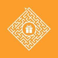 labirinto em forma de diamante de cor. jogo para crianças. quebra-cabeça para crianças. encontre o caminho certo para o presente. enigma do labirinto. ilustração em vetor plana isolada na cor de fundo.