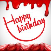 Modelo de cartão de aniversário com geléia de morango vetor