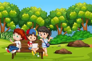 Crianças, em, parque, cena vetor