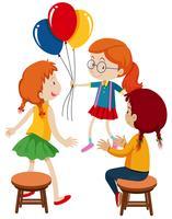 Três meninas e balões vetor