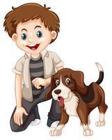 Um menino e um cachorro vetor