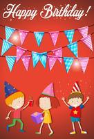 Cartão de feliz aniversário com crianças vetor