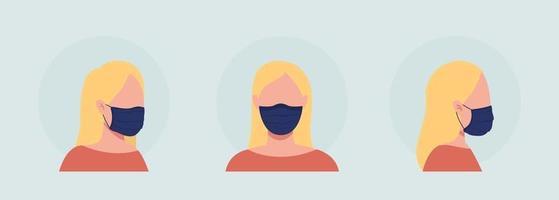 avatar de personagem de vetor de mulher loira de cor semi-plana com conjunto de máscara