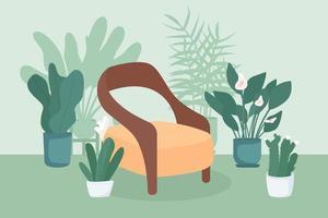 ilustração em vetor cor plana de jardim interno